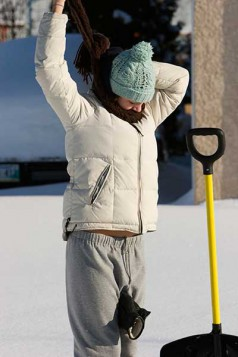 Stretch before shoveling snow