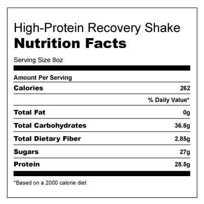 Nutritional Information for High-Protein Recovery Shake