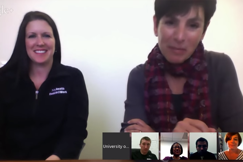 screenshot of google hangout on marathon nutrition