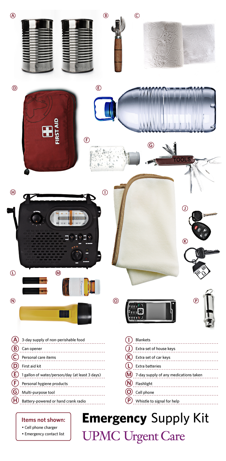 Be prepared for any emergency with a prepared emergency kit.
