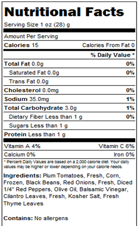 Nutritional facts - Black Beans, Tomato & Corn Salsa