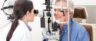 man eye exam