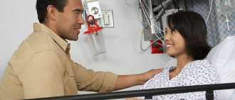 visiting patient at hospital