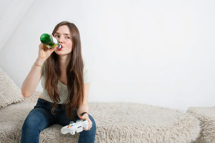 girl drinking alone