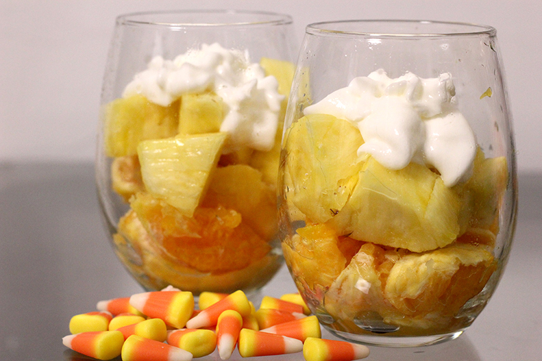 Healthy Halloween Treats - Candy Corn Fruit Cup