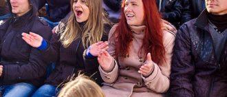 fans on bleachers