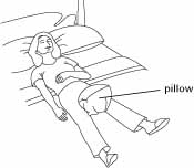After a total hip replacement, place a pillow between your thighs when lying on your back.