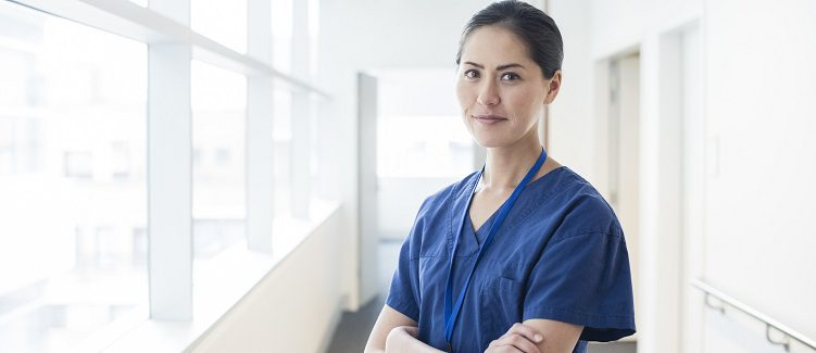 Female physician in scrubs