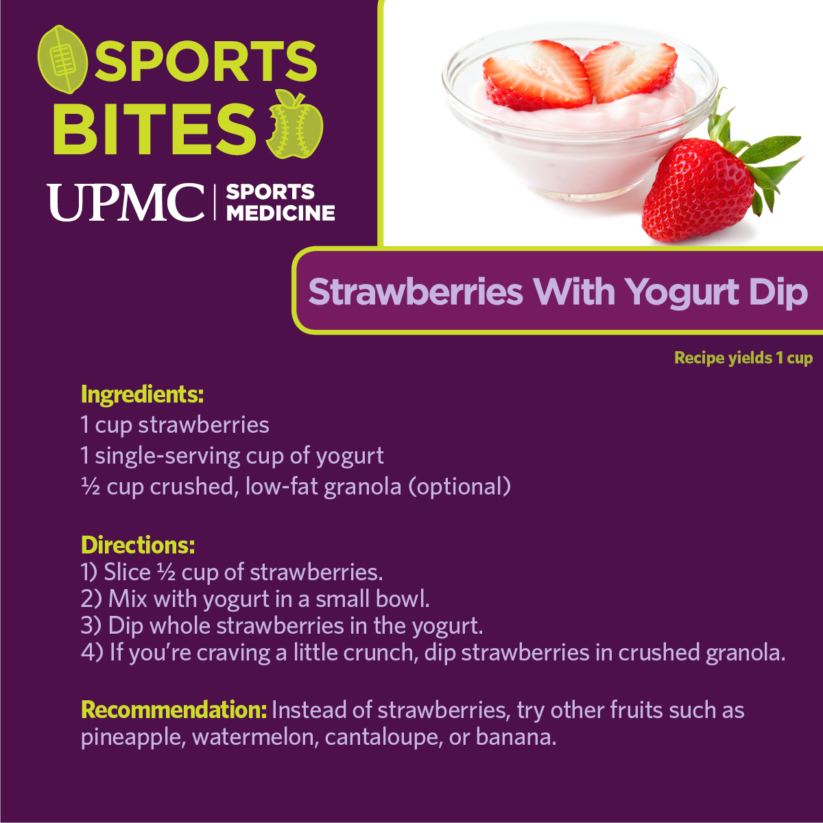 Strawberries with yogurt dip is a healthy recipe