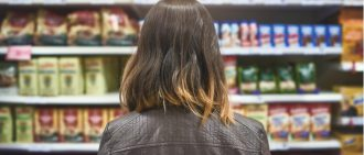 Back view of woman at supermarket