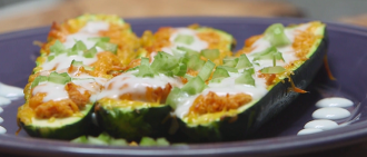 Video Recipe: Buffalo Chicken Zucchini Boats