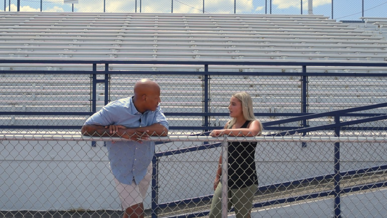 Lindsey Buczkowski and Ryan Shazier talking