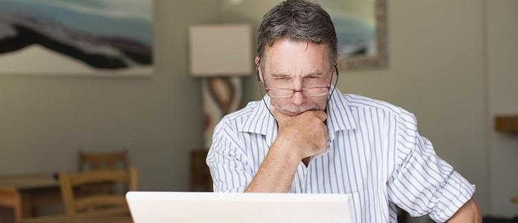 Older man planning