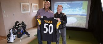Joe and Ryan Holding a Steeler Jersey